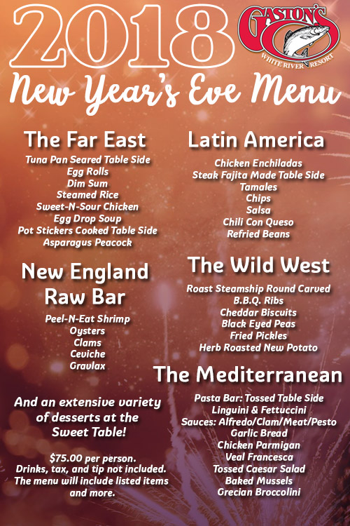 2018 New Year's Eve Party Menu